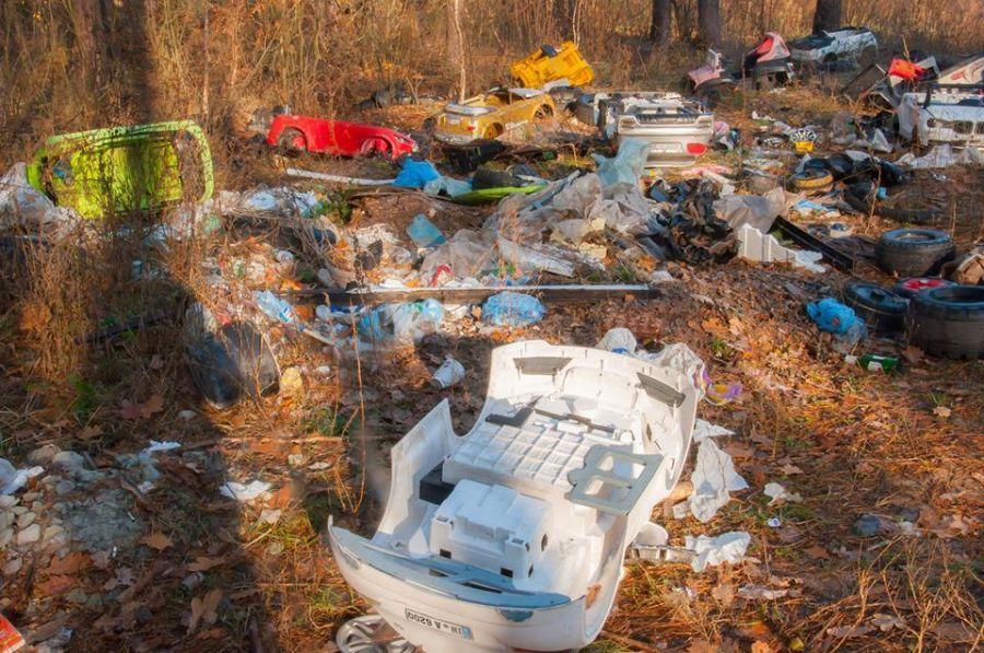 В лесу около Ирпеня обнаружили огромную свалку игрушечных автомобилей